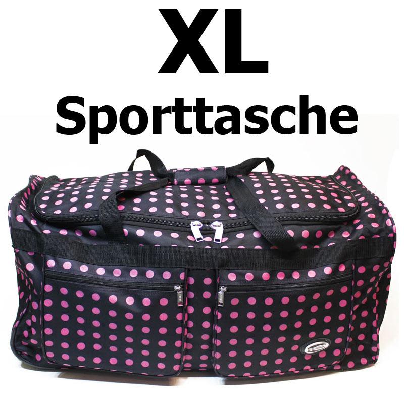 Reisetasche-Sporttrolley-90-Liter-Tasche-Nylon-SCHWARZ-PINK-Punkte-06030-PD