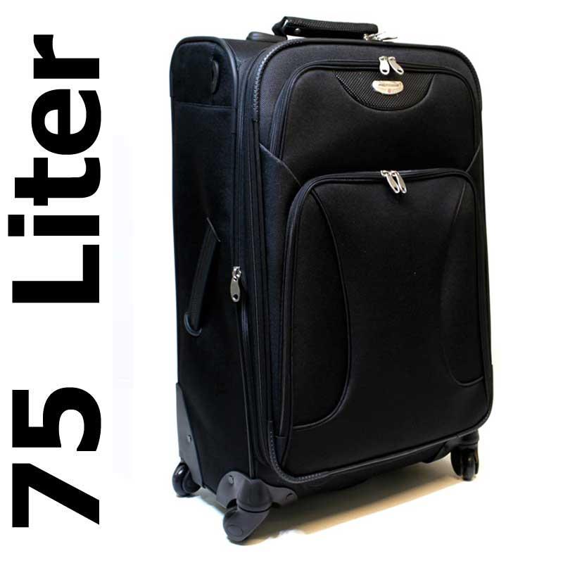 reisekoffer koffer trolley 4 rollen 360 75 liter schwarz 88000 ebay. Black Bedroom Furniture Sets. Home Design Ideas