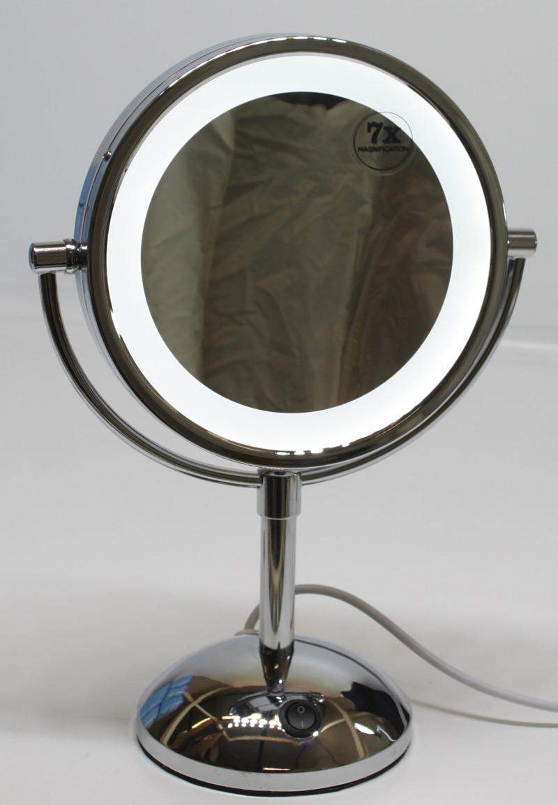 stand doppel led kosmetik badspiegel rasier spiegel schminkspiegel 7 fach ko3 ebay. Black Bedroom Furniture Sets. Home Design Ideas