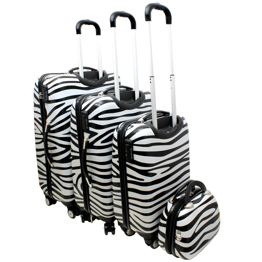 4 tlg kofferset hartschalen handgep ck koffer beauty case schloss zebra 8040 ebay. Black Bedroom Furniture Sets. Home Design Ideas