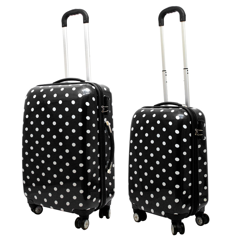 2 tlg koffer set hartschale hartschalen koffer reise urlaub trolley schloss ebay. Black Bedroom Furniture Sets. Home Design Ideas