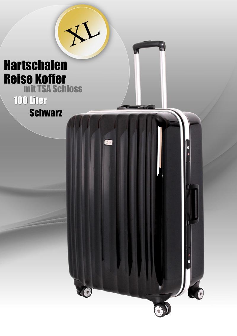 xl alu hartschalen koffer trolley tsa schloss 100 l schwarz alu 810 bware e342 ebay. Black Bedroom Furniture Sets. Home Design Ideas