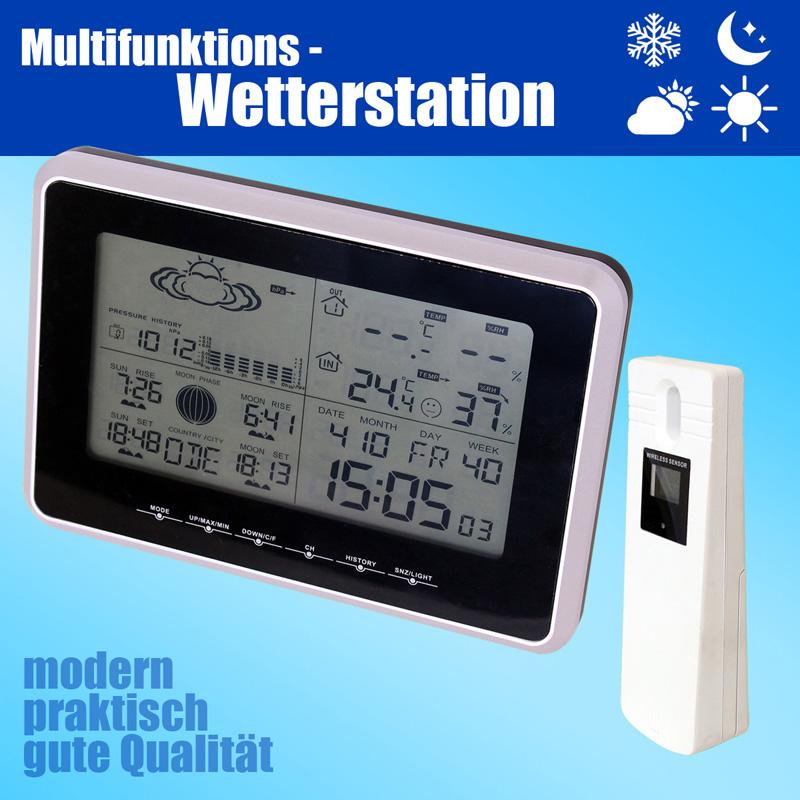 Funk-Wetterstation-Barometer-Aussensensor-Thermometer-Hygrometer-Mond-Phasen