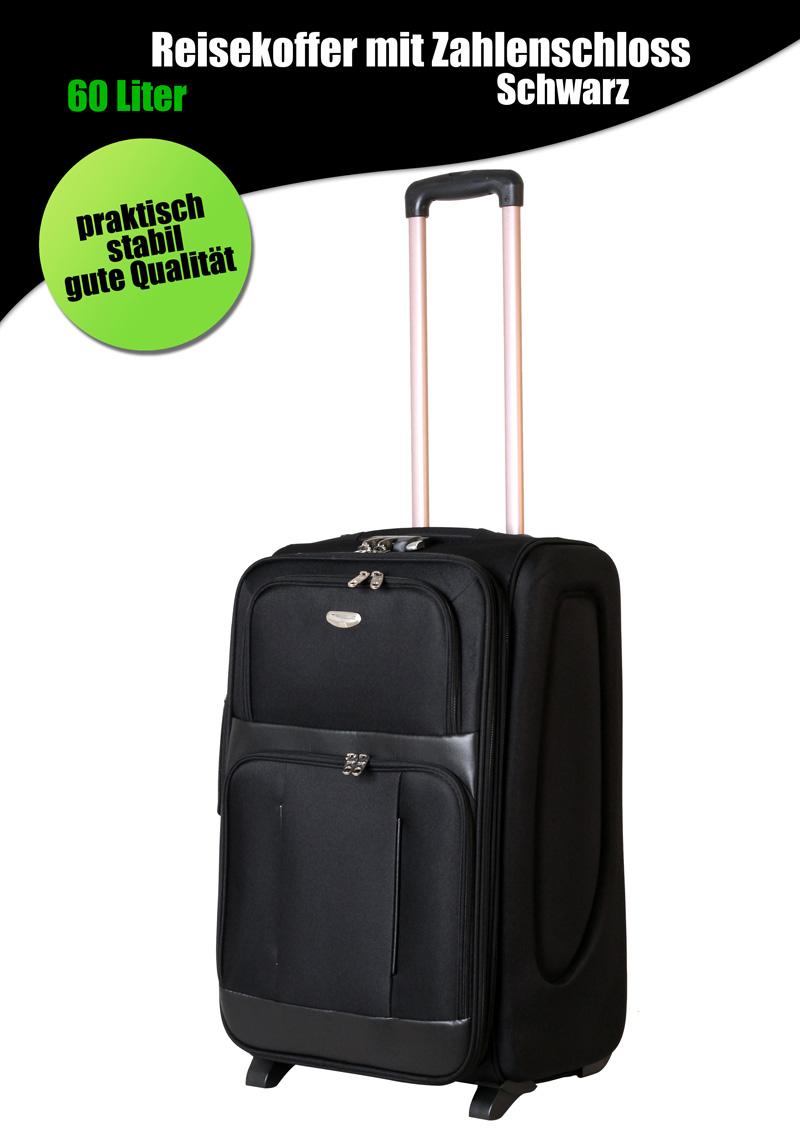 reisekoffer trolley koffer 60 liter zahlenschloss nylon schwarz 9033 a b ware ebay. Black Bedroom Furniture Sets. Home Design Ideas