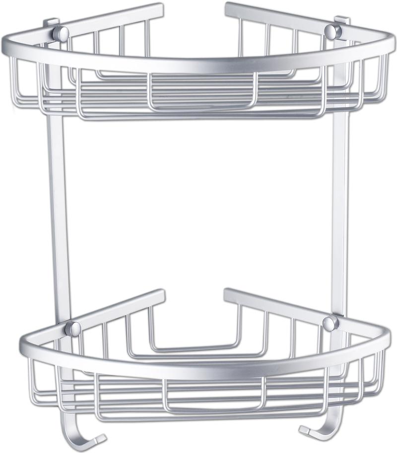 Details zu Edles Aluminium Bad Eckregal mit Haken Badezimmer Eck Regal