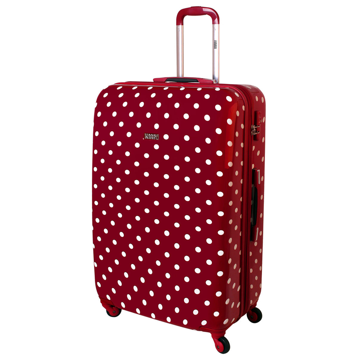 xxl hard wheeled case suitcase 4 wheels 120l travel red dots ebay. Black Bedroom Furniture Sets. Home Design Ideas