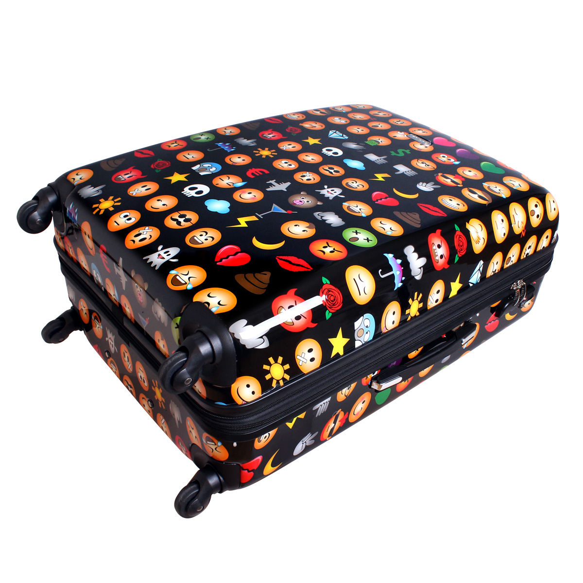xxl hartschalen reise koffer trolley reisekoffer 4 rollen case smileys emoji ebay. Black Bedroom Furniture Sets. Home Design Ideas